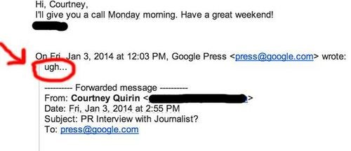 Google PR accidentally replies to a comment request with 'ugh'