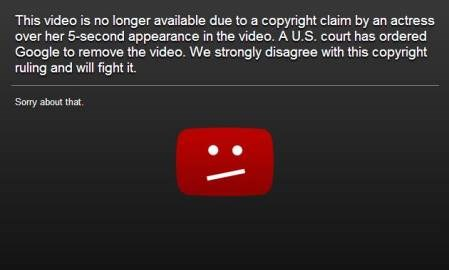 YouTube ordered to remove anti-Islamic film due to copyright infringement claim by actress