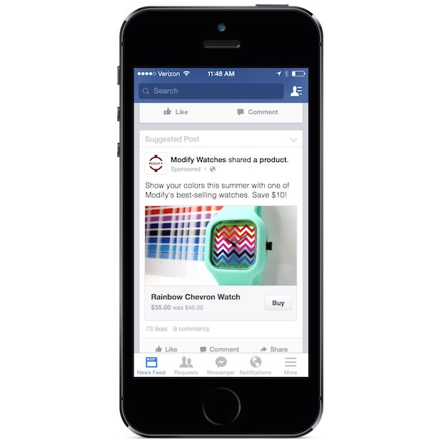 "Facebook is testing a ""buy button"" to directly enable sales within its platform"