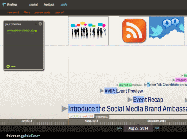 PR pros can use Timeglider to plan events and campaigns on an interactive timeline